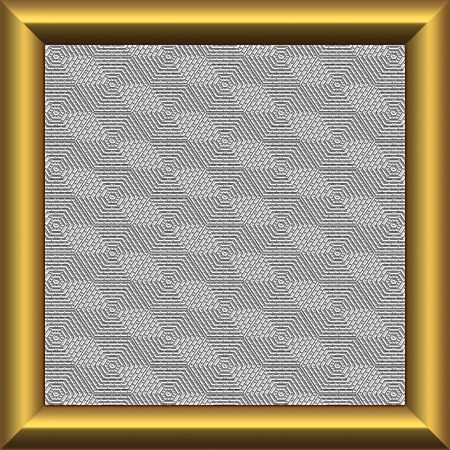 Square plate with golden frame and mesh