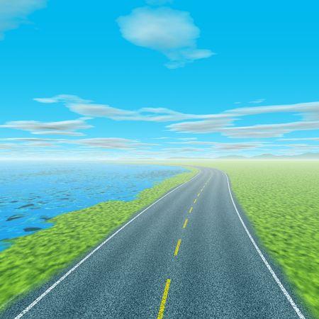 Coastal scenery with asphalt road 版權商用圖片