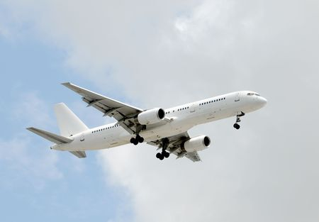 unmarked: Modern passenger jet in unmarked white color scheme Stock Photo