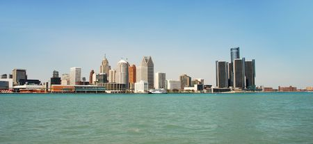 Panoramic view of Detroits waterfront by day photo