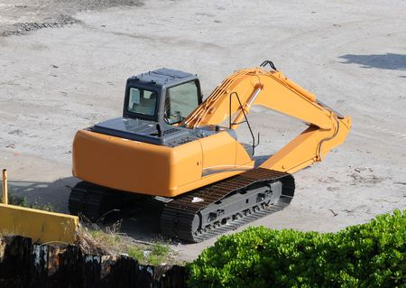 loader: Heavy construction front loader seen from above Stock Photo