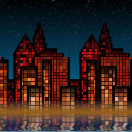 city lights: Night time skyline of the big city