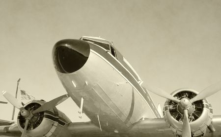 restored: Front view of vintage turboprop airplane Stock Photo