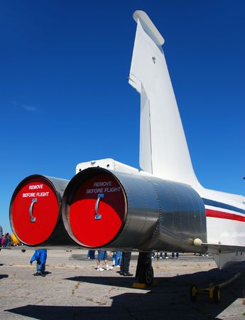 Rear view of white jet fighter Reklamní fotografie