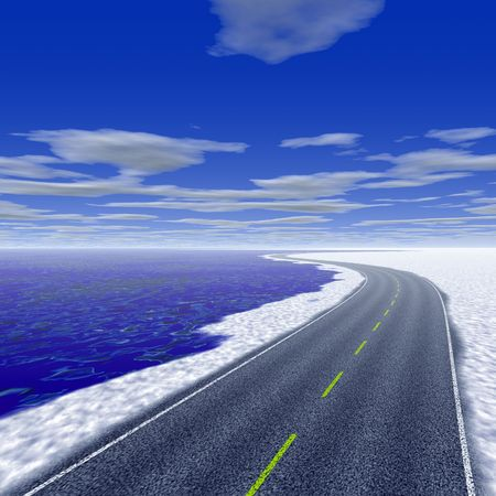 winding: Empty winding road in winter time Stock Photo