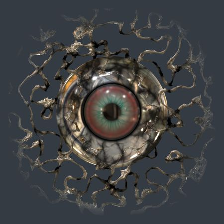 rendered: Computer rendered eye ball behind web