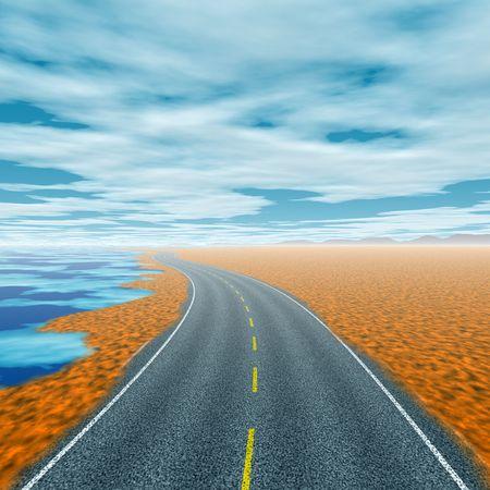 Winding coastal road with no traffic 版權商用圖片