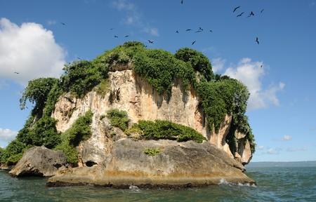 uninhabited: Uninhabited island in the Haitises park in the Caribbean Stock Photo