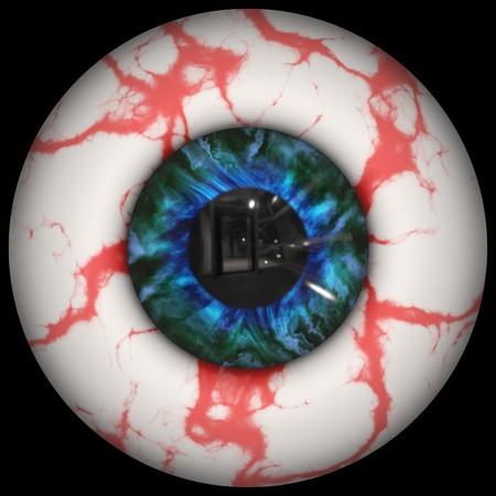 Closeup view of animal eyeball on black photo