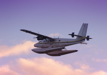 Seaplane taking off in early morning