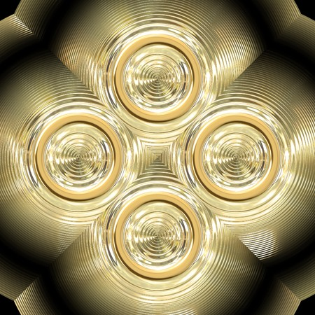 Shiny golden ornament with circle shapes