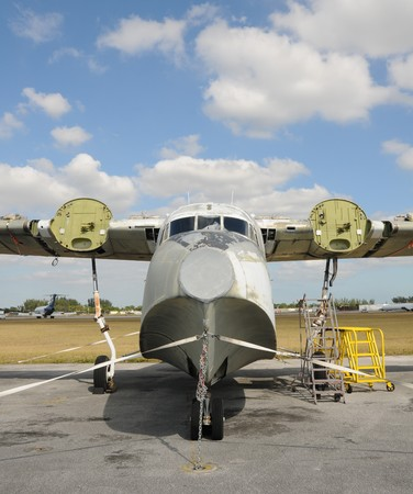 old time: Old time sea plane undergoing restoration Stock Photo