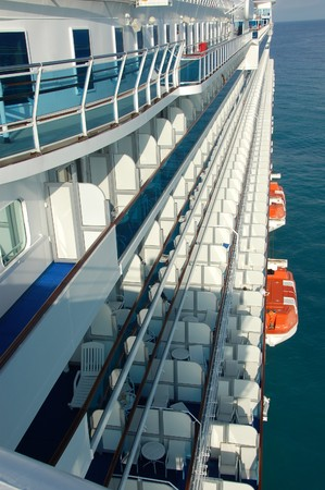 stateroom: Passenger staterooms and balconies on ocean liner                        Stock Photo