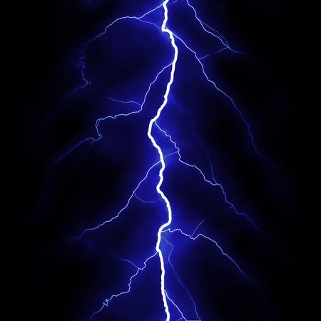 rendered: Computer rendered lightning strike in blue