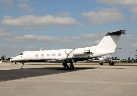 Side of of modern business jet for charter Stok Fotoğraf