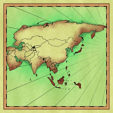 approximate: Antique had drawn map of Asia (approximate)