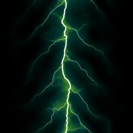 rendered: Rendered lightning strike on black background