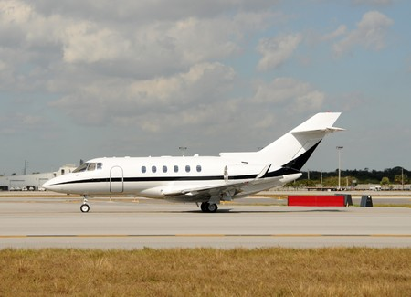 Modern private jet airplane for luxury charter travel