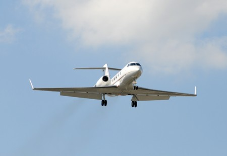 Modern jet airplane for charter business travel