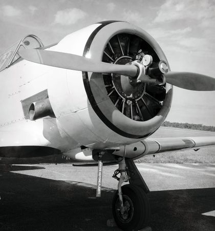 Vintage airplane engine and propeller view