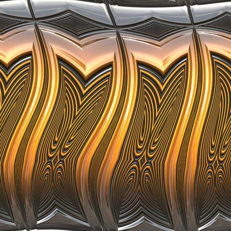 Closeup gezien goudkleurige metalen ornament Stockfoto