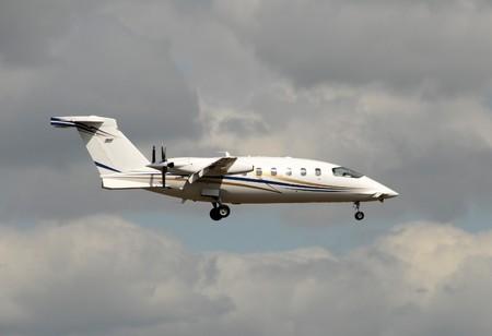 turboprop: Modern turboprop airplane with engines facing back
