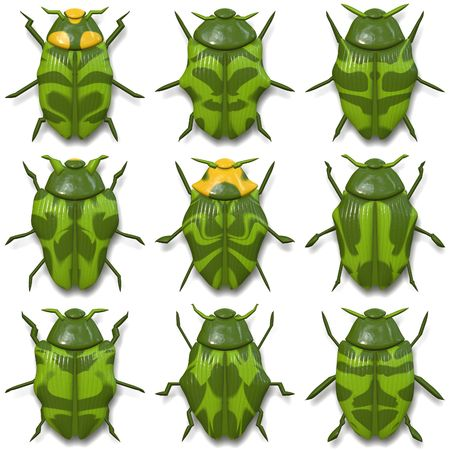 Nine small green beetles isolated on white Stock fotó