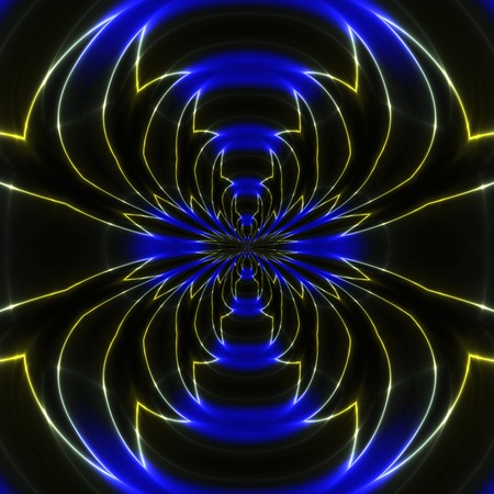 Abstracte weergave van glimmende blauwe lichten in zwart ruimte