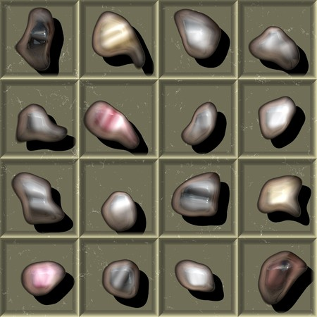 Abteile: 16 small rocks laid on in boxed compartments