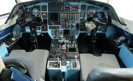Modern jet airplane cockpit control view