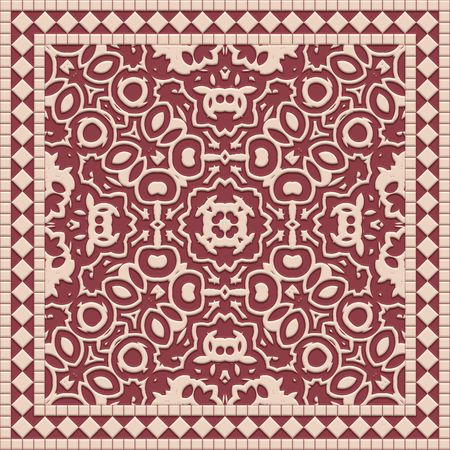 Intricate detailed ceramic tile closeup view