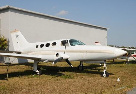 turboprop: Abandoned old turboprop airplane in disrepair Stock Photo