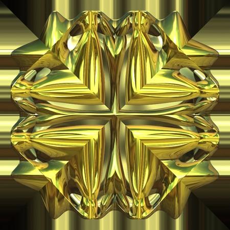 Shiny gold ornament closeup view