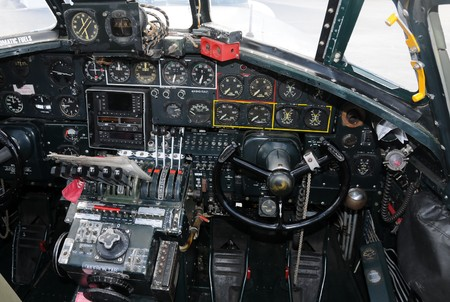 Cockpit and instrumentation in world war II era bomber photo