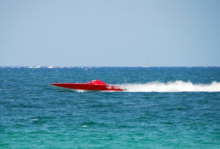 Extreme offshore racing in high speed boat