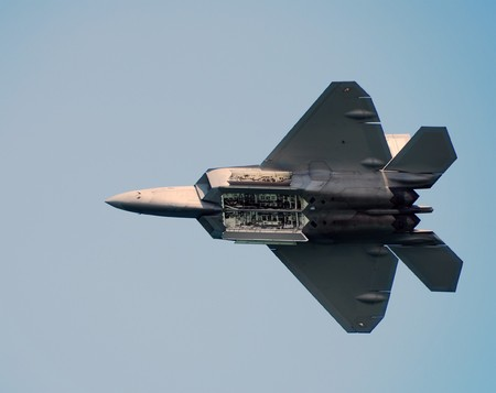 airforce: Modern US Air Force fighter jet in flight