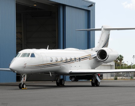 Modern jet airplane used for corporate business charters