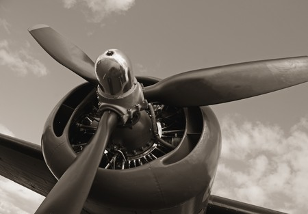 Old airplane propeller Stock Photo