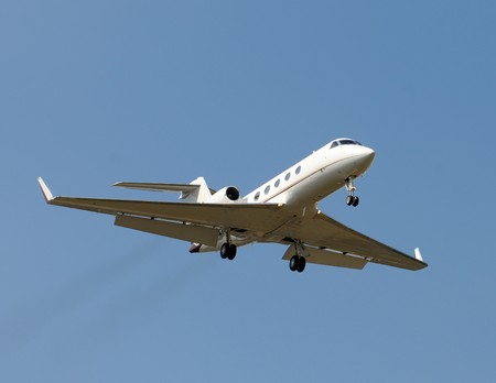 Business jet airplane for charter travel Stock Photo