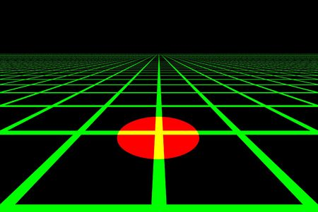 grid: Computer generated grid with moving red target