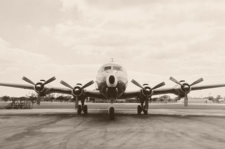 turboprop: Classic turboprop airliner from the 50s duotone