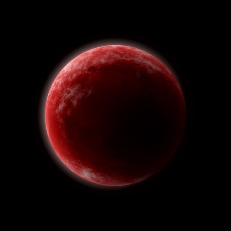 Red planet in the blackness of outer space