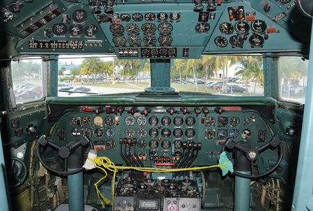 VIntage DC-7 airplane cockpit instrument panel