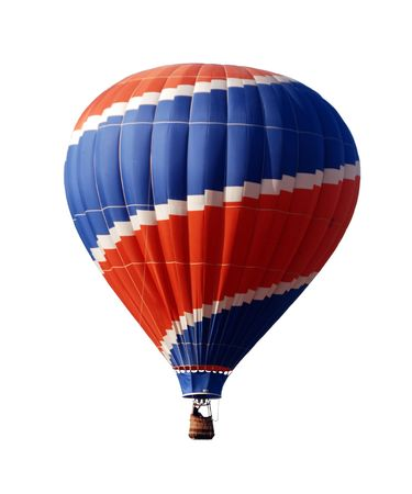 Isolated hot air balloon in blue and red