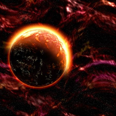 Planet orbiting in a violent galaxy Stock Photo