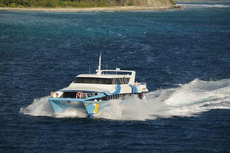 Fast ferry boat between caribbean islands