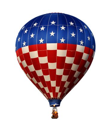 Hot air balloon with US flag isolated on white photo