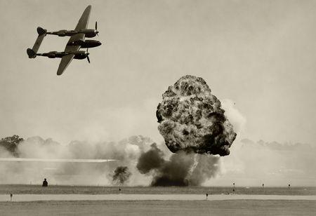 bombing: World War II era battle and bombbing Stock Photo