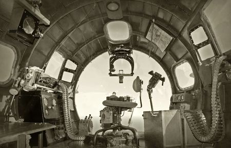 Cockpit view from World War II era bomber
