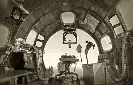Cockpit view from World War II era bomber